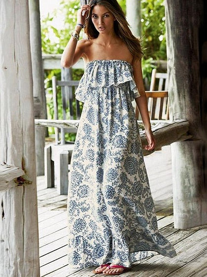 Blue Bandeau Folk Print Ruffle Trim Maxi Dress