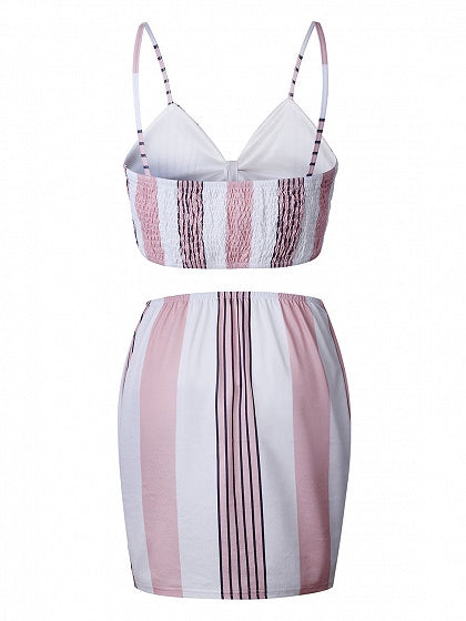 Pink Stripe Tie Front Crop Cami Top And High Waist Skirt