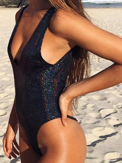 Black V-neck Sequin Detail Open Back Swimsuit
