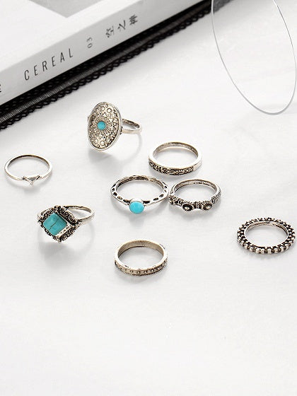 Blue Turquoise Carve Pattern Eight Pieces Set Rings