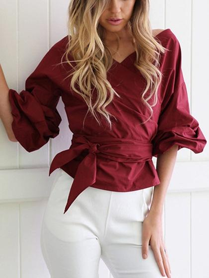 Cotton Blend V-neck Strap Cross Half sleeve Chic Women Blouse