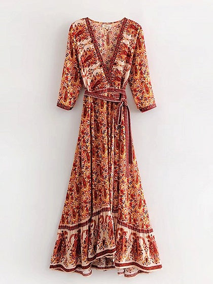 Cotton Plunge Paisley Print Tie Waist Chic Women Maxi Dress