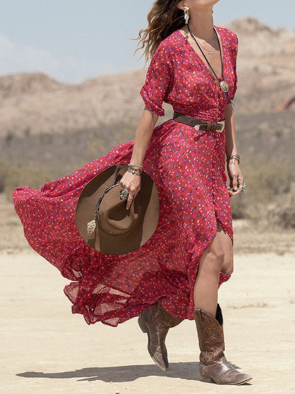 Red Chiffon V-neck Floral Print Half sleeve Chic Women Maxi Dress