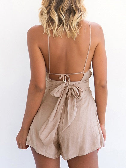 Cotton Spaghetti Strap Backless Tie Back Chic Women Playsuit