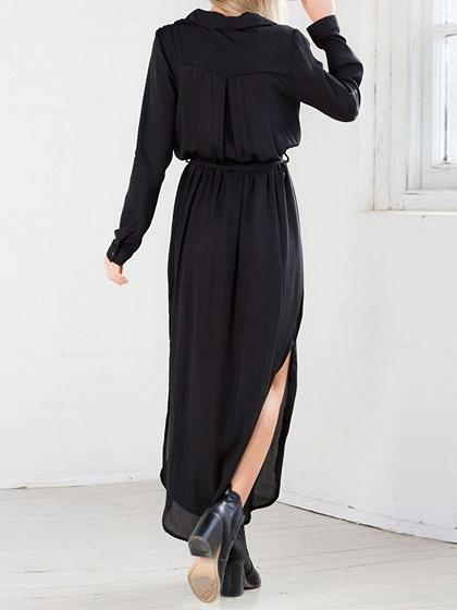 Chiffon Plunge Split Long Sleeve Chic Women Maxi Dress