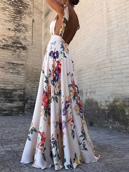 674d0c72641 White Floral Print Open Back Sleeveless Chic Women Cami Maxi Dress