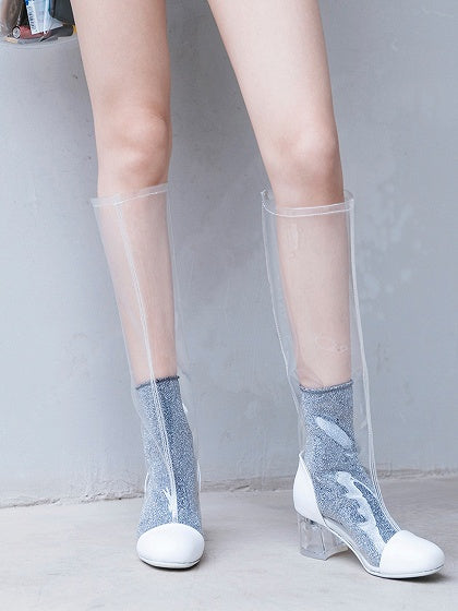 Crystal Heel Transparent Chic Women Round Head Combat Boots