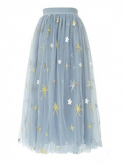 Gray Grenadine Star Embroidery Chic Women Midi Skirt