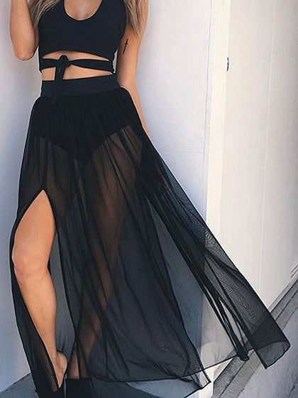 Black High Waist Thigh Split Side Chic Women Sheer Maxi Skirt