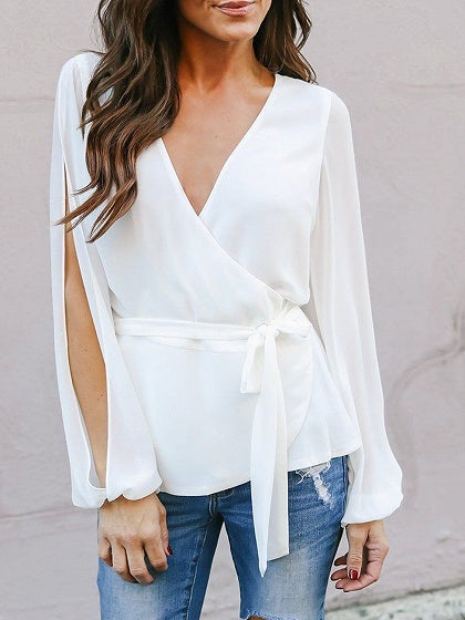 Chiffon V-neck Tie Waist Long Sleeve Chic Women Blouse