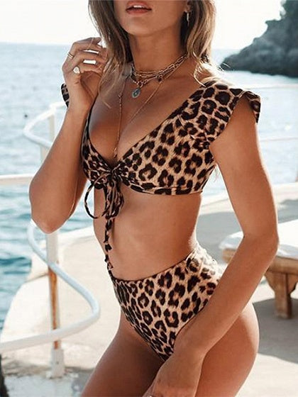 Brown Nylon Leopard Print Chic Women Bikini Top And High Waist Bottom