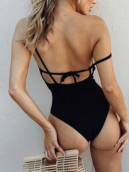 Black Nylon Open Back Chic Women Swimsuit