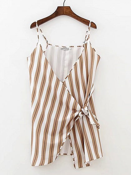 Brown Stripe V-neck Tie Waist Chic Women Cami Mini Dress