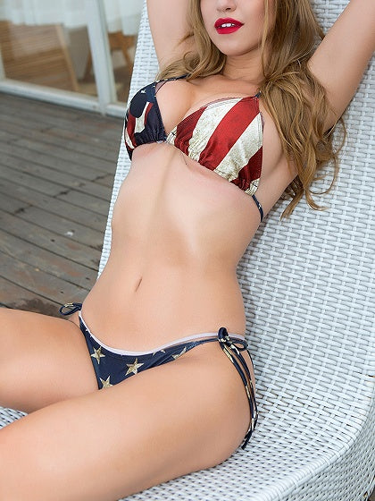 Multicolor Nylon American Flag Print Chic Women Bikini Top And Bottom