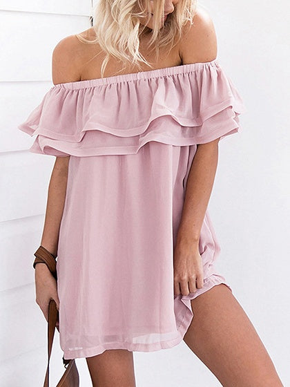 Pink Chiffon Off Shoulder Ruffle Trim Chic Women Mini Dress
