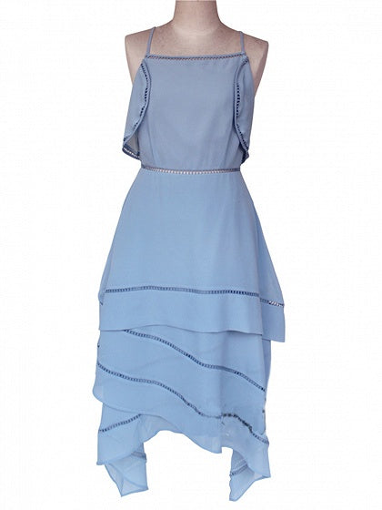 Blue Ruffle Trim Open Back Asymmetric Hem Chic Women Cami Midi Dress