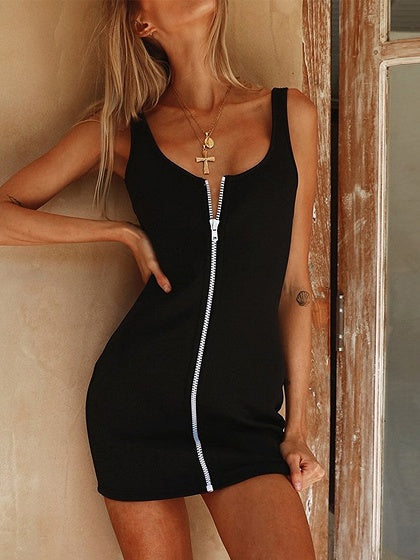 Black Zip Front Fastening Open Back Chic Women Cami Mini Dress