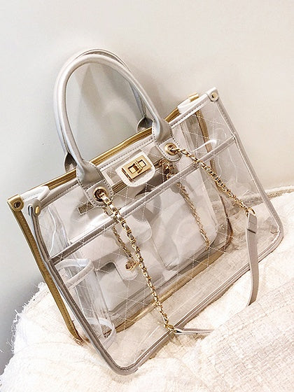 Silver PU Argyle Print Chain Strap Chic Women Sheer Shoulder Bag