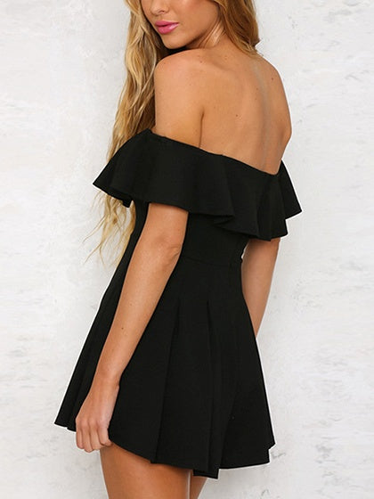 Black Cotton Off Shoulder Ruffle Trim Chic Women Romper Playsuit