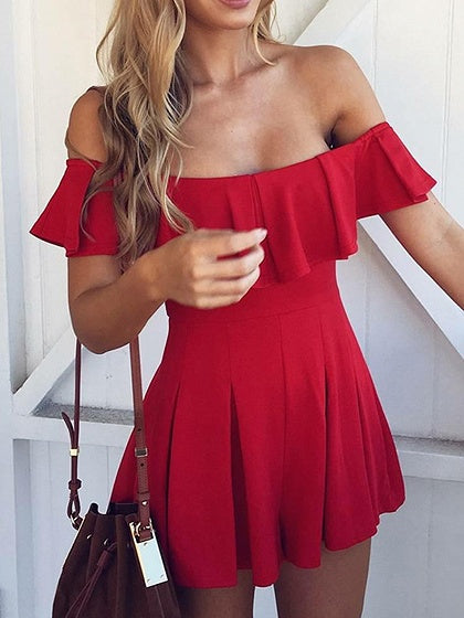 Red Cotton Off Shoulder Ruffle Trim Chic Women Romper Playsuit