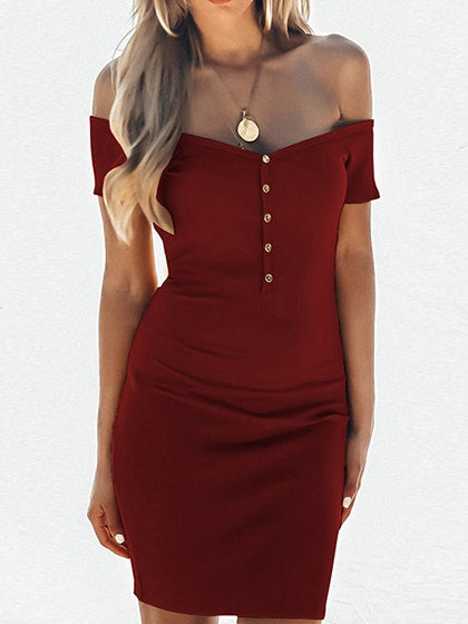 Burgundy Cotton V-neck Button Placket Front Chic Women Mini Dress