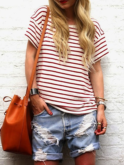 Burgundy Stripe Cotton Crew Neck Chic Women T-shirt