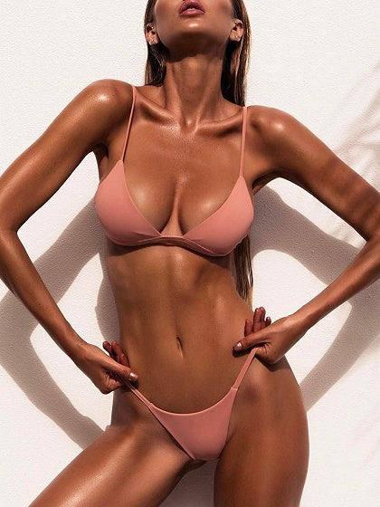 Pink Nylon Open Back Chic Women Bikini Top And Bottom