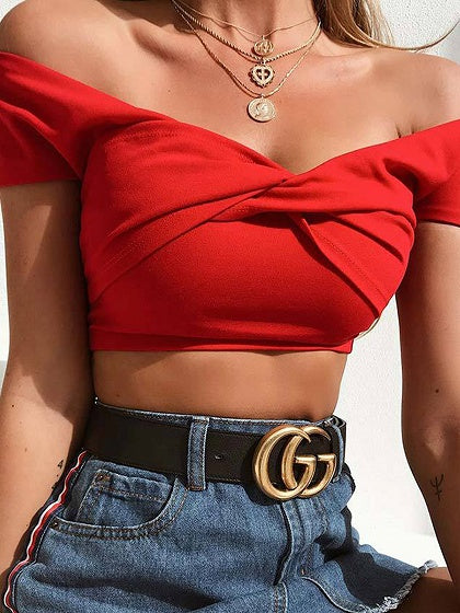 Red Cotton Off Shoulder Knot Front Chic Women Crop Top