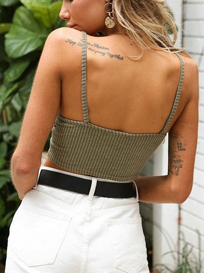 Army Green Drawstring Front Open Back Chic Women Cami Bralet