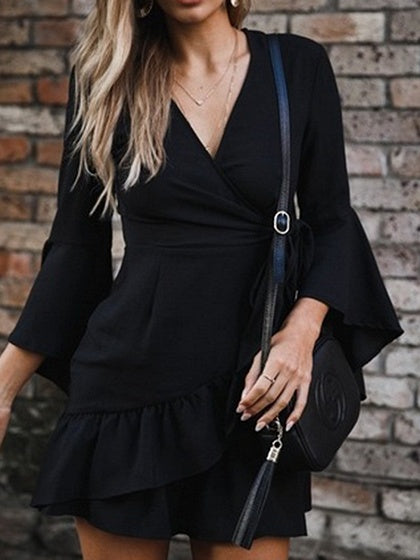 Black V-neck Tie Waist Ruffle Hem Flare Sleeve Chic Women Mini Dress
