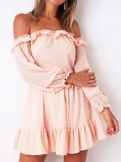 Pink Chiffon Off Shoulder Polka Dot Puff Sleeve Chic Women Mini Dress