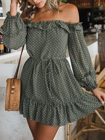 Green Chiffon Off Shoulder Polka Dot Puff Sleeve Chic Women Mini Dress