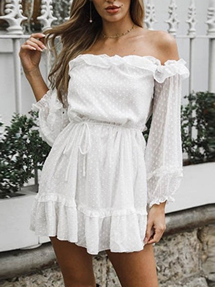 White Chiffon Off Shoulder Polka Dot Puff Sleeve Chic Women Mini Dress