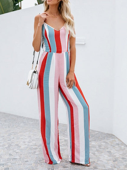 Multicolor Stripe Cotton Spaghetti Strap V-neck Chic Women Jumpsuit