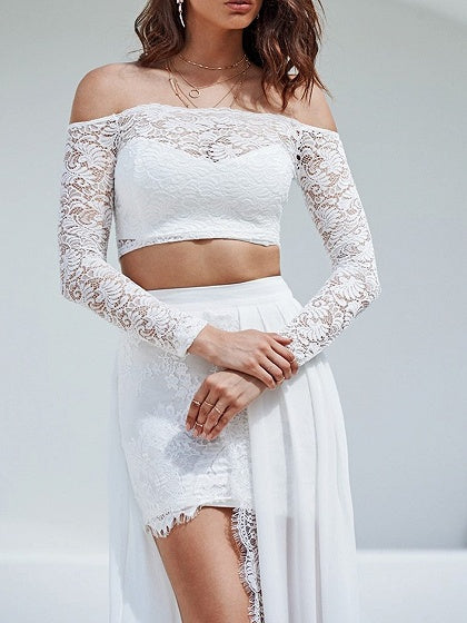 White Off Shoulder Long Sleeve Chic Women Lace Crop Top And Maxi Skirt