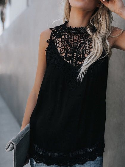 89064f6825 Black Lace Panel Cut Out Detail Sleeveless Chic Women Tank Top