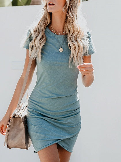 Blue Cotton Ruched Detail Chic Women Bodycon Mini Dress