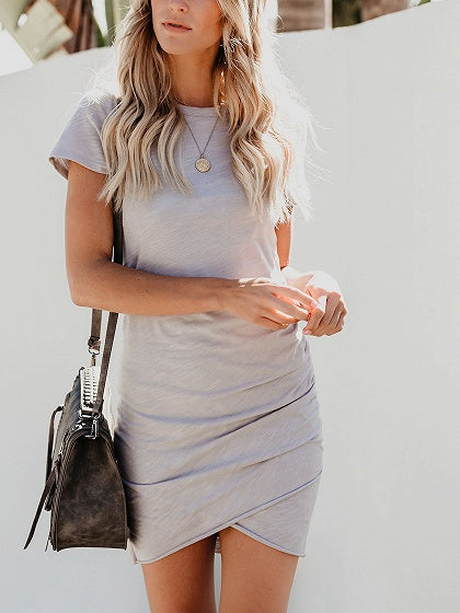 Gray Cotton Ruched Detail Chic Women Bodycon Mini Dress