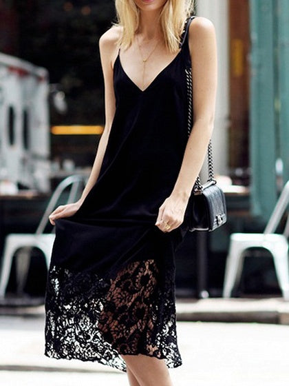 Black V-neck Lace Panel Open Back Chic Women Cami Midi Dress