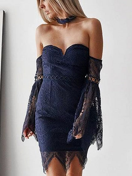 Dark Blue Off Shoulder Flare Sleeve Chic Women Lace Bodycon Mini Dress
