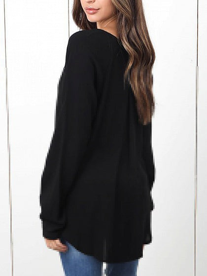 Black V-neck Dipped Hem Long Sleeve Chic Women Blouse