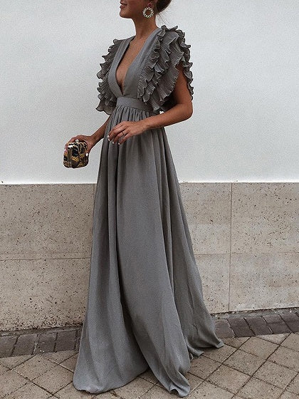 Gray Chiffon Plunge Frill Trim Open Back Chic Women Maxi Dress