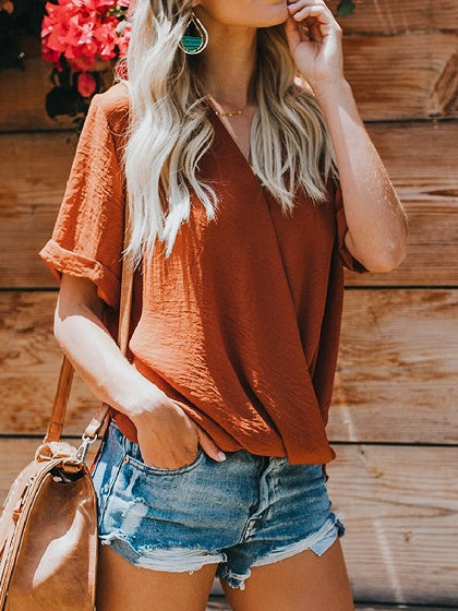 Brown Chiffon V-neck Asymmetric Detail Chic Women Blouse