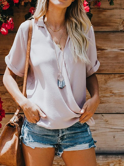 Gray Chiffon V-neck Asymmetric Detail Chic Women Blouse