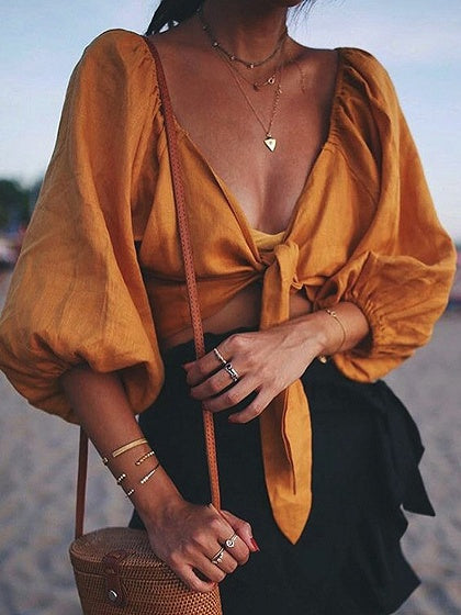 Yellow Cotton V-neck Tie Front Puff Sleeve Chic Women Crop Top