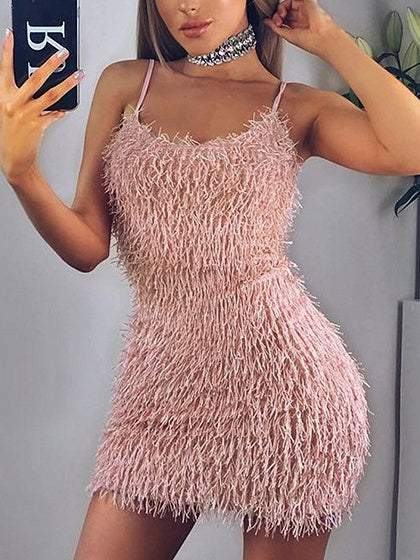 Pink Tassel Detail Chic Women Bodycon Cami Mini Dress