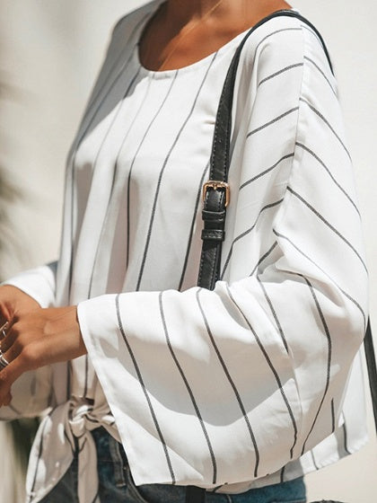 White Stripe Tie Front Batwing Sleeve Chic Women Blouse