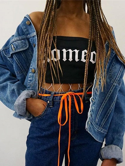 Black Cotton Bandeau Letter Print Chic Women Crop Bralet