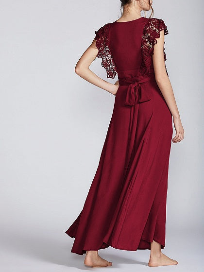 Red Chiffon Plunge Tie Waist Lace Panel Chic Women Maxi Dress