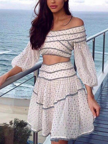 White Chiffon Off Shoulder Polka Dot Chic Women Crop Top And Skirt